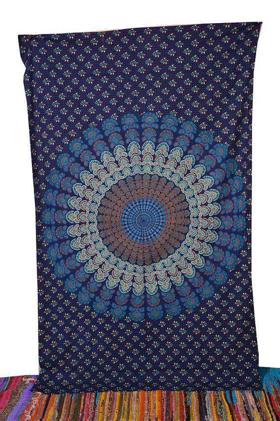 Small Buddhist Mandala Tapestry Hippie Hippy Wall Hanging Throw Bedspread Dorm Tapestry Picnic Beach Sheet Coverlet Decorative Wall Hanging