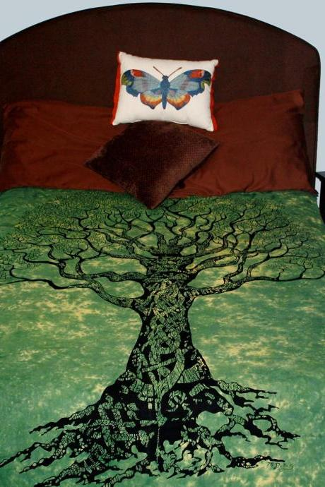 BEAUTIFUL GREEN TREE OF LIFE Tapestry Royal Elephant Pure Cotton Bedspread