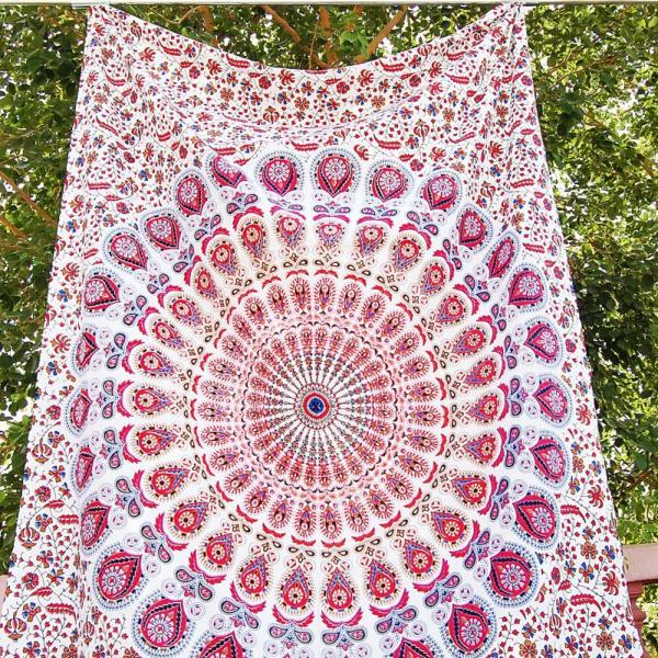 BEAUTIFUL PINK PEACOCK DESIGN Mandala Hippie Tapestry Wall Hanging Bedding Bedspread Twin Ethnic Throw