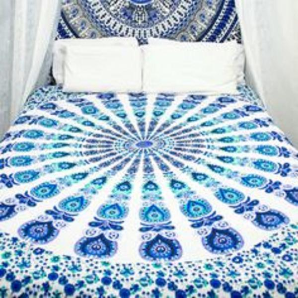 White Hippie Mandala Twin size Tapestry Throw Indian Wall Hanging Bedspread Bohemian Decor